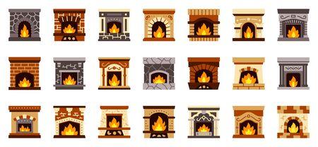 Kaminfarbe flache Icons Set. Einfaches Weihnachtsfeuer, gemütlich, Weihnachtsgeschenk, Sockensymbol, Cartoon-Stil. Weihnachten Wohnkultur Piktogramm Sammlung Isolierte Vektor-Illustration. Vektorgrafik