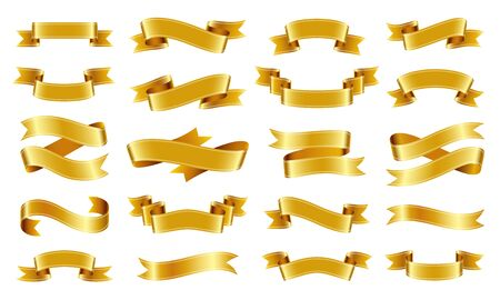 Gold ribbon scroll realistic set. Text banner sign kit. Tape pictogram collection. Decoration design element. Vintage flag cartoon colorful icon symbol isolated on white consept vector Illustration