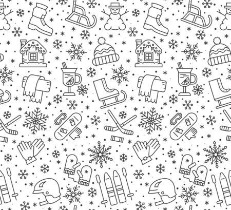 Winter season holiday line seamless pattern. Christmas, New year background. Skiing, skating repeat ornament. Paper wrap, fabric print, wallpaper decor. Outdoor activity outline vector illustration