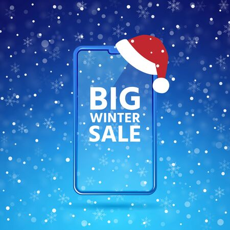 Winter big sale smartphone mockup with santas hat. Mobile phone blank screen. Text device template. Christmas clearance banner. Cellphone display front view. Snow frame background. Vector illustration Çizim