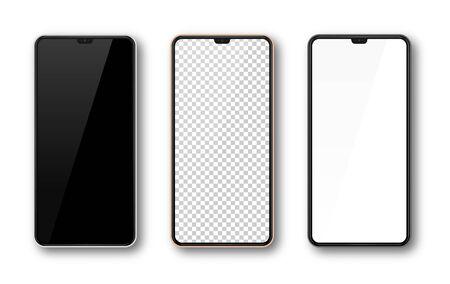 Realistyczny zestaw makiety smartfona. Makieta ekranu telefonu komórkowego do projektowania. Nowoczesny szablon urządzenia cyfrowego. Widok z przodu wyświetlacza telefonu komórkowego. Czarna, różowe złoto, biała ramka. Ilustracja wektorowa na białym tle Ilustracje wektorowe
