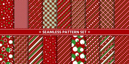 Simple red white green seamless pattern set. Christmas Holiday winter season background. Line, strip, circle, star repeat ornament. Paper wrap, fabric print, wallpaper decor. Flat vector illustration