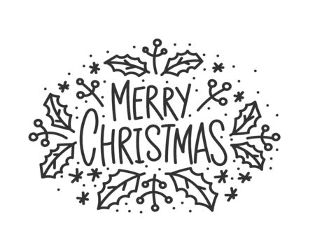 Merry christmas hand drawn lettering banner. Typography emblem. Text calligraphy inscription card design. Winter holiday poster template. Wishing handwritten postcard. Isolated vector illustration Çizim
