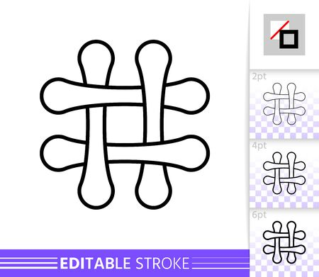 Hashtag single thin line icon. Social Media flat banner. Hash Tag poster. Linear pictogram. Simple illustration, outline symbol. Vector sign isolated on white. Editable stroke icons without fill