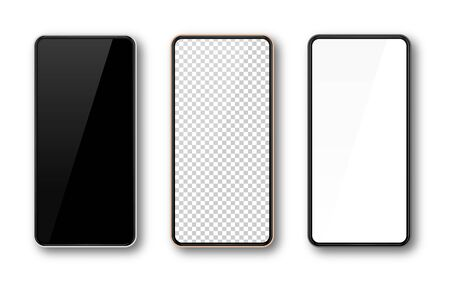 Realistic smartphone mockup set. Mobile phone mock up screen for your design. Modern digital device template. Cellphone display front view. Black, rose gold, white frame. Isolated vector illustration Фото со стока - 132038359