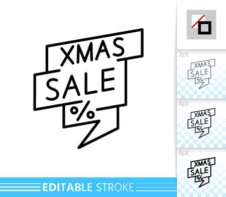 Xmas sale bubble thin line single icon. Christmas linear banner. Outline season clearance, special offer symbol. Editable stroke without fill Simple winter contour sign. Isolated Vector illustration