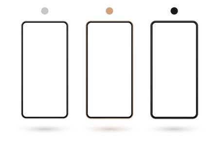 Realistic smartphone mockup set. Mobile phone mock up screen for your design. Modern digital device template. Cellphone display front view. Black, rose gold, white frame. Isolated vector illustration Фото со стока - 132038698