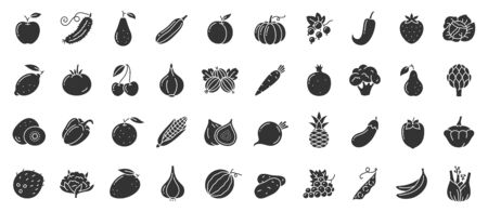 Fruit, berry, vegetable glyph icons set. Food symbol, simple shape pictogram collection. Vegetarian silhouette design element. Pumpkin, strawberry, cherry, black sign Isolated icon vector illustration