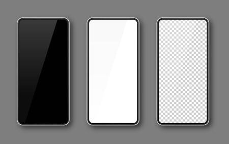 Realistic smartphone mockup set. Mobile phone blank, white, transparent screen design. Modern digital device template. Cellphone display front view mock up. White frame. Isolated vector illustration