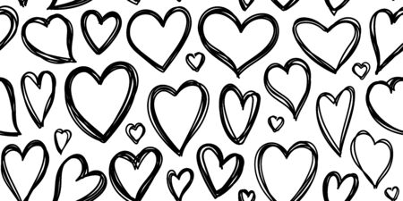 Heart seamless pattern. Love cute valentines day background. Hand drawn, doodle heart repeat ornament for paper wrap, fabric print, wallpaper decor. Love symbol wedding outline vector illustration Standard-Bild - 133830511