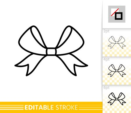Bow single thin line icon. Ribbon flat banner. Gift design, present decoration linear pictogram. Simple illustration, outline symbol. Vector sign isolated on white. Editable stroke icons without fill Standard-Bild - 133830513