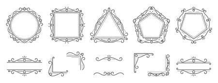 Art deco text frame, monogram, divider, corner set. Fancy elegant wedding decor. Style ornament, geometric element. Square, triangle, rhombus, pentagon, border letter frames Design Vector illustration