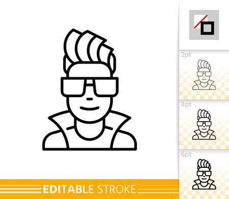 Hipster character person line icon. Teenager avatar. DJ linear sign. Guy face. Young people outline portreit. Social user, man, male, student. Modern hairstyle, glasses. Isolated vector illustration Standard-Bild - 133284114