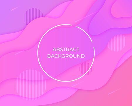 Layered paper style purple pink abstract background. 3d graphic design geometric pattern. Fluid, liquid, wave shape gradient wallpaper. Banner, flyer, poster, presentation template Vector illustration Standard-Bild - 133283901