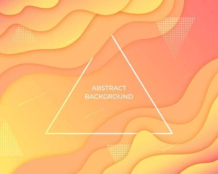 Layered paper style orange abstract background. 3d art graphic design geometric pattern. Fluid, liquid, wave shape gradient wallpaper. Banner, flyer, poster, presentation template. Vector illustration Ilustrace