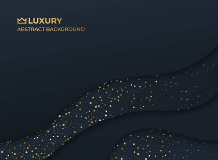 Black gold abstract luxury elegant royal background. Layered paper style graphic design pattern. Fluid, liquid, wave shape wallpaper. Banner, flyer, poster, presentation template. Vector illustration Standard-Bild - 133283774