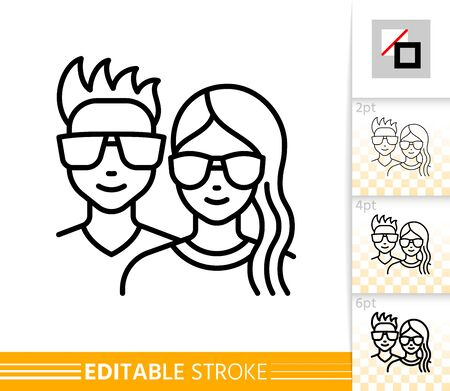 Teenager avatar girl and guy face line icon. Young people outline portreit. Linear hipster character person. Social user, female, male, student. Modern hairstyle, glasses. Isolated vector illustration Standard-Bild - 133830520