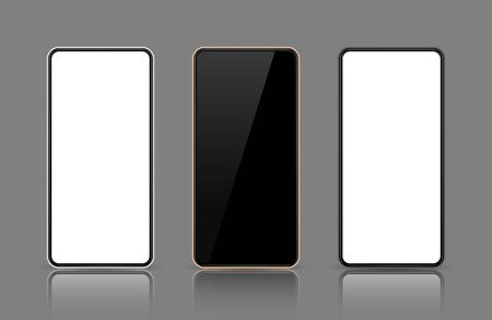 Realistic smartphone mockup set. Mobile phone mock up screen for your design. Modern digital device template. Cellphone display front view. Black, rose gold, white frame. Isolated vector illustration