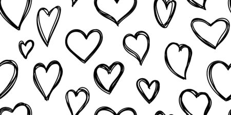 Heart seamless pattern. Love cute valentines day background. Hand drawn, doodle heart repeat ornament for paper wrap, fabric print, wallpaper decor. Love symbol wedding outline vector illustration Ilustrace