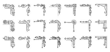 Ensemble d'icônes de fine ligne fantaisie de bordure d'angle. Kit de cadre décoratif de contour Abstract Decor collection d'icônes linéaires décoration florale vintage. Symbole de contour noir monogramme simple vecteur isolé Illustration Vecteurs