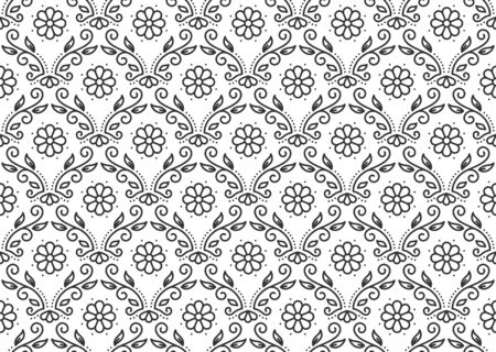 Floral vintage seamless pattern. Elegant ornate decor abstract background. Stylish linear luxury repeat ornament for paper wrap, card, fabric print, wallpaper. Trendy style outline vector illustration