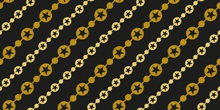 Simple gold black circle star garland seamless pattern abstract background. Christmas season, birthday holiday gift paper wrap. Repeat ornament fabric print, wallpaper decor. Flat vector illustration Standard-Bild - 134450431