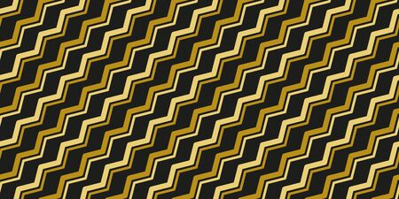 Simple gold black zigzag line modern seamless pattern abstract background. Christmas season, birthday holiday gift paper wrap. Repeat ornament fabric print, wallpaper decor. Flat vector illustration Ilustrace