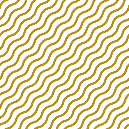 Simple gold wavy line on white seamless pattern abstract background. Christmas season, birthday holiday gift paper wrap. Repeat ornament for fabric print, wallpaper decor. Flat vector illustration