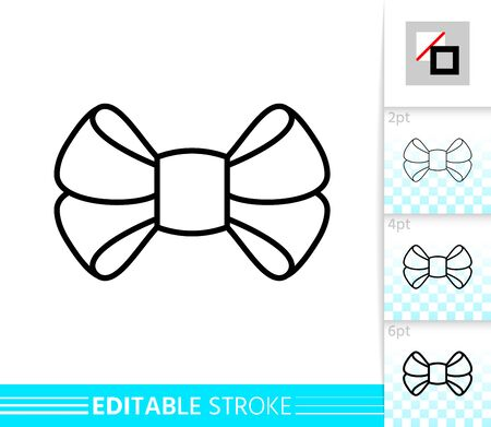 Bow single thin line icon. Ribbon banner. Gift design, present decoration. Tie linear pictogram. Simple illustration, outline symbol. Vector sign isolated on white. Editable stroke icons without fill Standard-Bild - 134450509