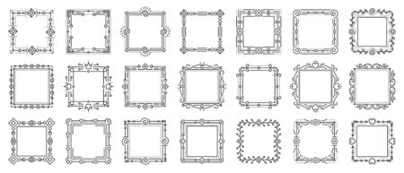 Decorative vintage ornamental frame set. Text frames for certificate, menu, book, wedding card design. Elegant monogram. Rectangle floral decor. Square art deco border. Isolated vector Illustration Standard-Bild - 134450512