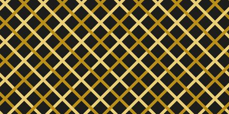 Simple gold black line modern seamless pattern abstract checkered background. Christmas season, birthday holiday gift paper wrap. Repeat ornament fabric print, wallpaper decor. Vector illustration Standard-Bild - 134450514