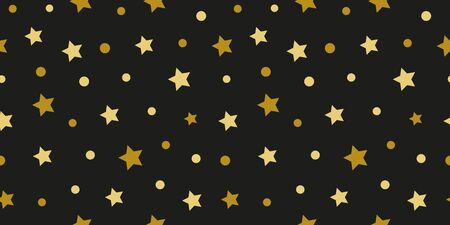 Simple gold black star modern seamless pattern abstract background. Christmas season, birthday holiday gift paper wrap. Repeat ornament for fabric print, wallpaper decor. Flat vector illustration Ilustrace