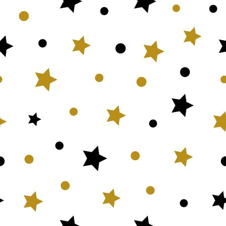 Simple gold black star on white seamless pattern abstract background. Christmas season, birthday holiday gift paper wrap. Repeat ornament for fabric print, wallpaper decor. Flat vector illustration Standard-Bild - 134450549