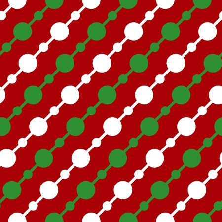Simple white green circle garland on red seamless pattern abstract background. Christmas season, birthday holiday gift paper wrap. Repeat ornament for fabric print, wallpaper decor Vector illustration Standard-Bild - 134450810