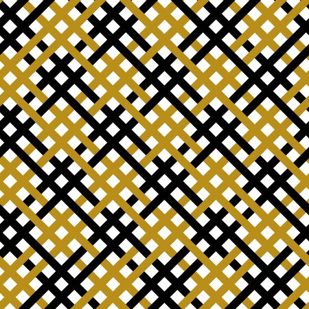 Simple gold black line on white seamless pattern abstract checkered background. Christmas season, birthday holiday gift paper wrap. Repeat ornament fabric print, wallpaper decor. Vector illustration Ilustrace