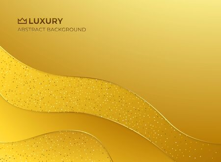 Gold abstract luxury elegant royal background. Layered paper style graphic design pattern. Fluid, liquid, wave shape wallpaper. Banner, flyer, poster, presentation template. Vector illustration Ilustrace