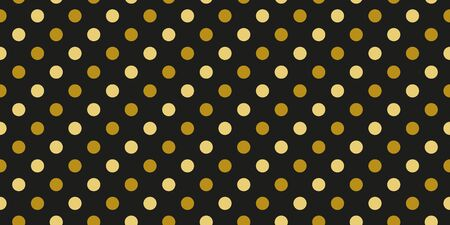 Simple gold black circle modern seamless pattern abstract background. Christmas season, birthday holiday gift paper wrap. Repeat ornament for fabric print, wallpaper decor. Flat vector illustration Standard-Bild - 134450821