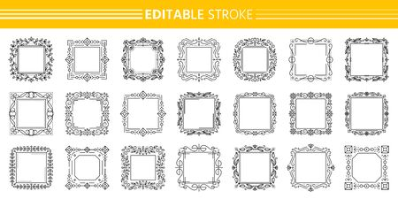 Decorative vintage ornamental frame set. Text frames certificate, menu, book, wedding card design. Elegant monogram. Floral decor. Square art deco border. Editable stroke Isolated vector Illustration Standard-Bild - 134450832