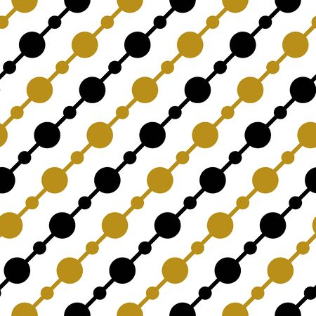 Simple gold black circle garland on white seamless pattern abstract background. Christmas season, birthday holiday gift paper wrap. Repeat ornament for fabric print, wallpaper decor. Flat vector illustration