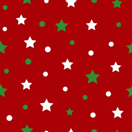 Simple white green star on red seamless pattern abstract background. Christmas season, birthday holiday gift paper wrap. Repeat ornament for fabric print, wallpaper decor. Flat vector illustration