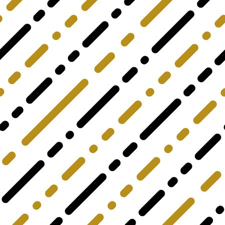 Simple gold black white strip line on white seamless pattern abstract background. Christmas season, birthday holiday gift paper wrap. Repeat ornament fabric print, wallpaper decor. Vector illustration Standard-Bild - 134450837