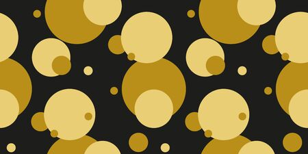 Simple gold black circle modern seamless pattern abstract background. Christmas season, birthday holiday gift paper wrap. Repeat ornament for fabric print, wallpaper decor. Flat vector illustration