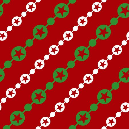 Simple white green circle star garland on red seamless pattern abstract background. Christmas season, birthday holiday gift paper wrap Repeat ornament fabric print, wallpaper decor Vector illustration