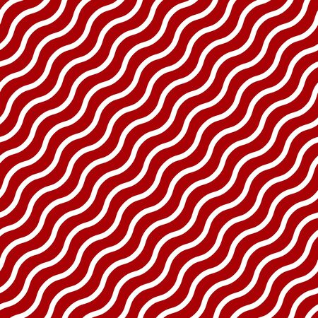 Simple white wavy line on red seamless pattern abstract background. Christmas season, birthday holiday gift paper wrap. Repeat ornament for fabric print, wallpaper decor. Flat vector illustration