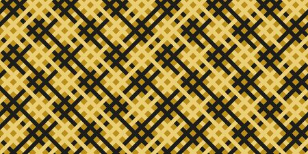 Simple gold black line modern seamless pattern abstract checkered background. Christmas season, birthday holiday gift paper wrap. Repeat ornament fabric print, wallpaper decor. Vector illustration