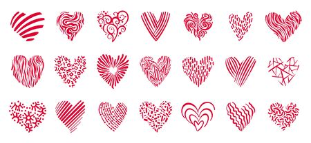 Doodle pink ornament hearts icon set. Love romantic, valentines day, wedding symbol. February 14 holiday decorative sign, hand drawn style, flat cartoon, different shape. Isolated Vector illustraion Standard-Bild - 134450937