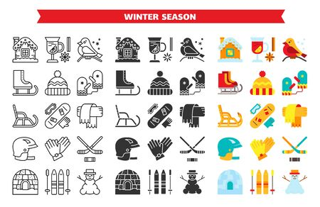 Winter activity outdoor line, glyph, flat icons bundle. Christmas season enjoy symbol set. Holiday fun simple sign contour, cartoon ski, sled, hat, scarf, igloo. Vector illustration isolated on white
