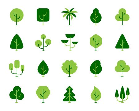 Green tree flat cartoon icons set. Forest, plant, birch, oak, cedar, poplar, cypress, maple, palm, summer spring garden, park symbol. Simple geometric trees icon. Isolated on white vector illustration