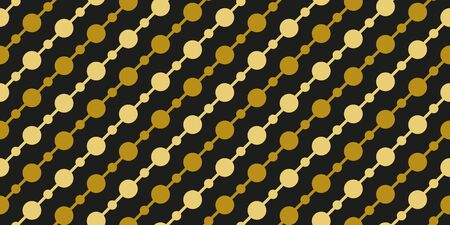 Simple gold black circle garland seamless pattern abstract background. Christmas season, birthday holiday gift paper wrap. Repeat ornament for fabric print, wallpaper decor. Flat vector illustration