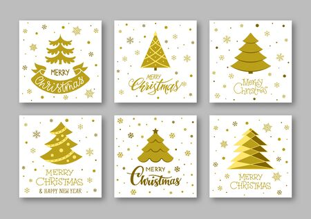 Merry Christmas and Happy New year gold greeting cards. Winter holiday wishing inscription postcard. Christmas tree with snowflakes and lettering text poster design. Xmas banner. Vector illustration
